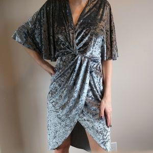 ZARA crossover crushed velvet dress